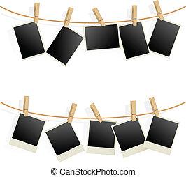cadres, photo, corde