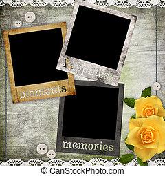 cadres, photo, fleurs, papier, vieux