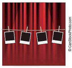 cadres, photo, rideau rouge