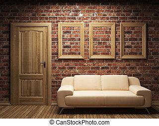 cadres, porte, sofa