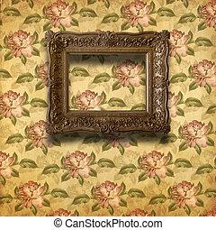 cadres, style, grunge, baroque, vieux, salle, intérieur
