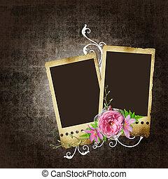 cadres, vendange, fleurs, fond, photos