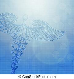 caducée, monde médical, fond, concept abstrait