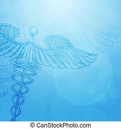 caduceus , με , αφαιρώ , ιατρικός αντίληψη , φόντο