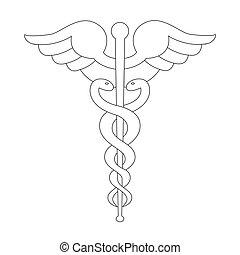 caduceus, 符號, 黑色, outline, 被隔离, 上, white.