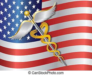 caduceus, 醫學的符號, 由于, 美國旗, 背景, 插圖