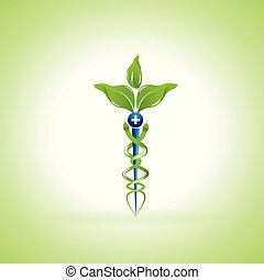 Caduceus medical symbol with leaves instead of serpents. Concept for alternative medicine or a combined use of alternative medicine and conventional medical practices.