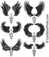 Caduceus Black Set - Set of minimal medical themed icons in...