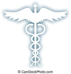 caduceus - Simple white caduceus symbol with blue grey...