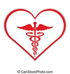 caduceus, em, coração, símbolo médico, .