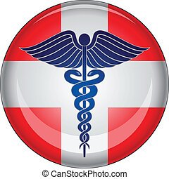Caduceus First Aid Medical Button