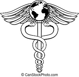Caduceus Globe Medical Symbol