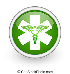 caduceus green circle glossy web icon on white background