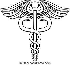 Caduceus - An illustration of the caduceus symbol of two...