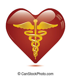 Caduceus in heart medical symbol .