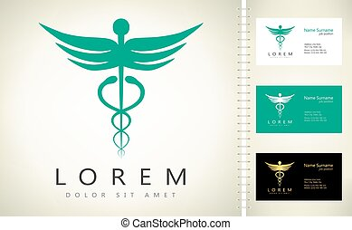 caduceus medical logo vector design