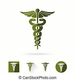 Caduceus - medical sign in different modern flat styles. Vector illustration