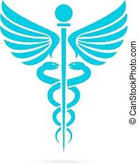 Caduceus medical snake vector icon