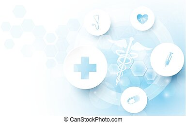Caduceus medical symbol and Abstract geometric with medicine and science concept background. Medical Icons