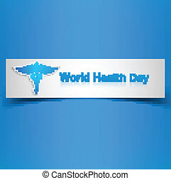 Caduceus medical symbol beautiful World health day colorful background illustration