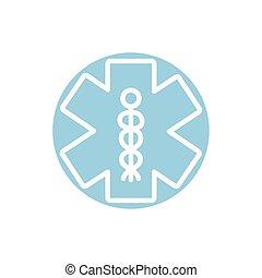 caduceus medical symbol block icon