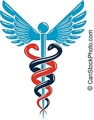 Caduceus medical symbol, graphic vector emblem created with wings and snakes.