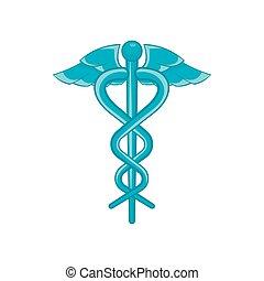 Caduceus medical symbol icon, cartoon style