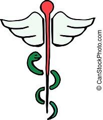 caduceus medical symbol icon isolated on white background