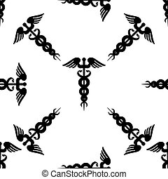 Caduceus medical symbol icon seamless pattern on white background. Vector Illustration
