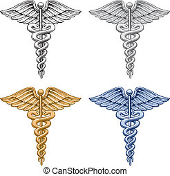 Illustration of four versions of the Caduceus medical symbol. There is a black and white, silver, gold and blue version. Vector format is easily edited or separated for print and screen print.