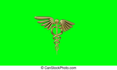 Caduceus medical symbol isolated on a green background. Caduceus sign with snakes. 3d render