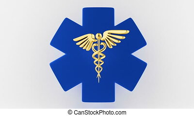 Caduceus medical symbol isolated on a white background. Caduceus Icon. Concept for Healthcare Medicine and Lifestyle. Caduceus sign with snakes on a medical star.