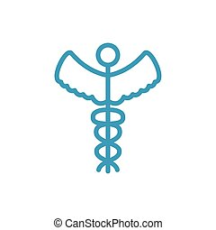 caduceus medical symbol line icon