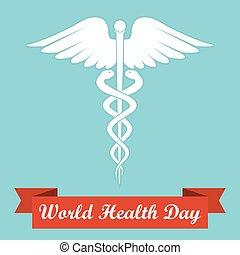 Caduceus medical symbol with ribbon. World Heath Day