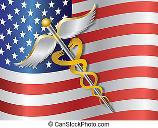 Caduceus Medical Symbol for Healthcare Reform with United States of America USA Flag Background Illustration