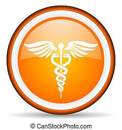 caduceus orange glossy icon on white background