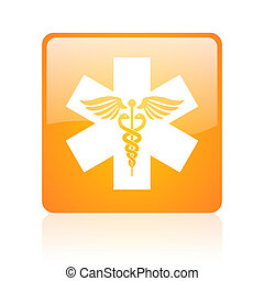 caduceus orange square glossy web icon