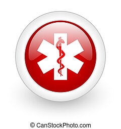 caduceus red circle glossy web icon on white background