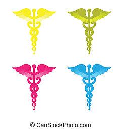 caduceus, símbolos, quatro, cores, isolado, branco, experiência.