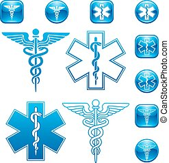 Vector Set of illustrations For Caduceus and Asclepius Staff icons and logos.