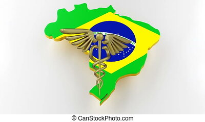 Caduceus sign with snakes on a medical star. Map of Brazil land border with flag. Brazil map on white background. 3d rendering