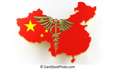 Caduceus sign with snakes on a medical star. Map of China land border with flag. China map on white background. 3d rendering