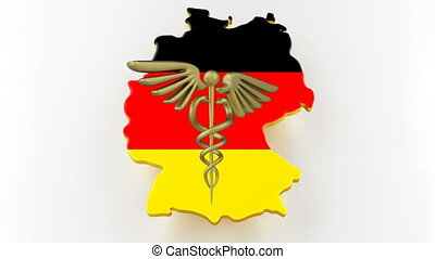 Caduceus sign with snakes on a medical star. Map of Germany land border with flag. 3d rendering