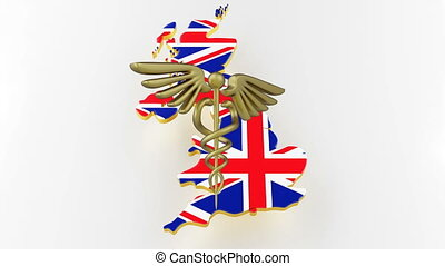 Caduceus sign with snakes on a medical star. Map of Great Britain land border with flag. Great Britain map on white background. 3d rendering
