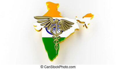Caduceus sign with snakes on a medical star. Map of India land border with flag. 3d rendering
