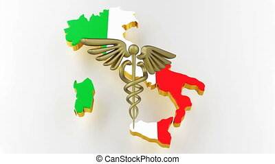 Caduceus sign with snakes on a medical star. Map of Italy land border with flag. 3d rendering