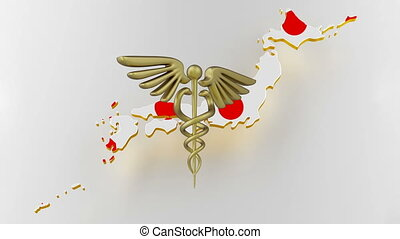 Caduceus sign with snakes on a medical star. Map of Japan land border with flag. Japan map on white background. 3d rendering