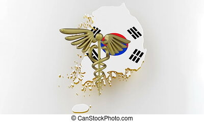 Caduceus sign with snakes on a medical star. Map of Korea land border with flag. Korea map on white background. 3d rendering