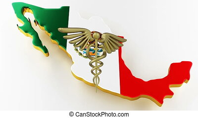 Caduceus sign with snakes on a medical star. Map of Mexico land border with flag. Mexico map on white background. 3d rendering