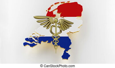 Caduceus sign with snakes on a medical star. Map of Netherlands land border with flag. Netherlands map on white background. 3d rendering